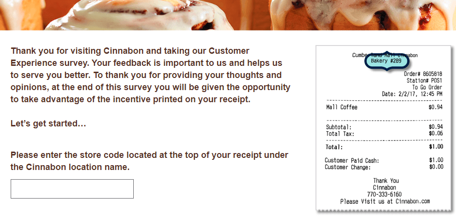 Cinnabon customer survey