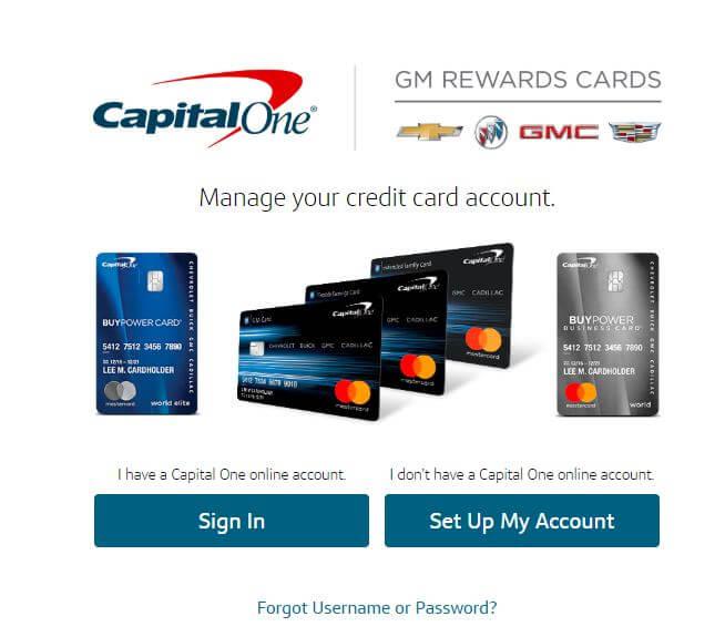 gm card capital one login