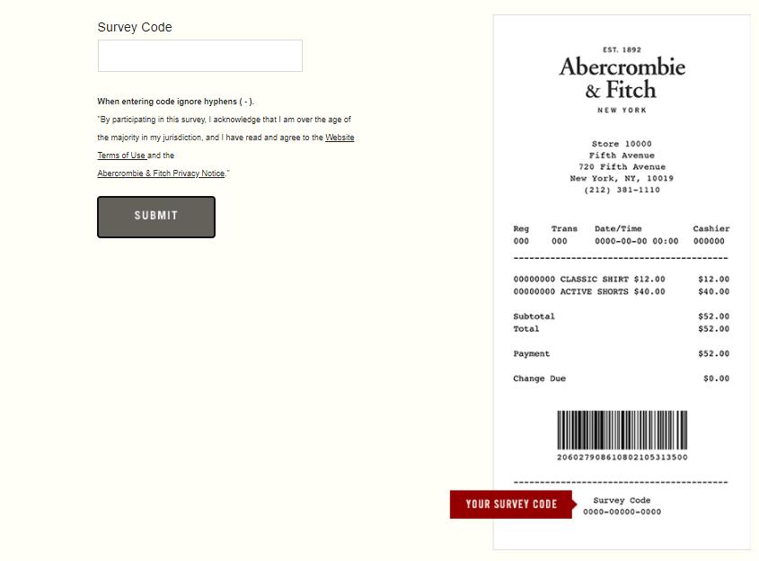 abercrombie survey receipt